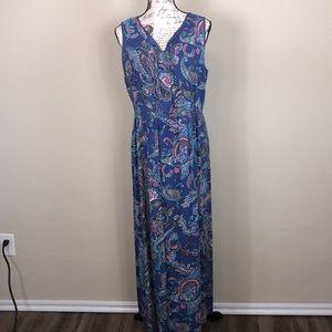 Talbots Sz 12 Paisley multi colored maxi dress